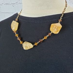 Jewelry - Goldtone & Amber Chunky Crystal Rock Necklace
